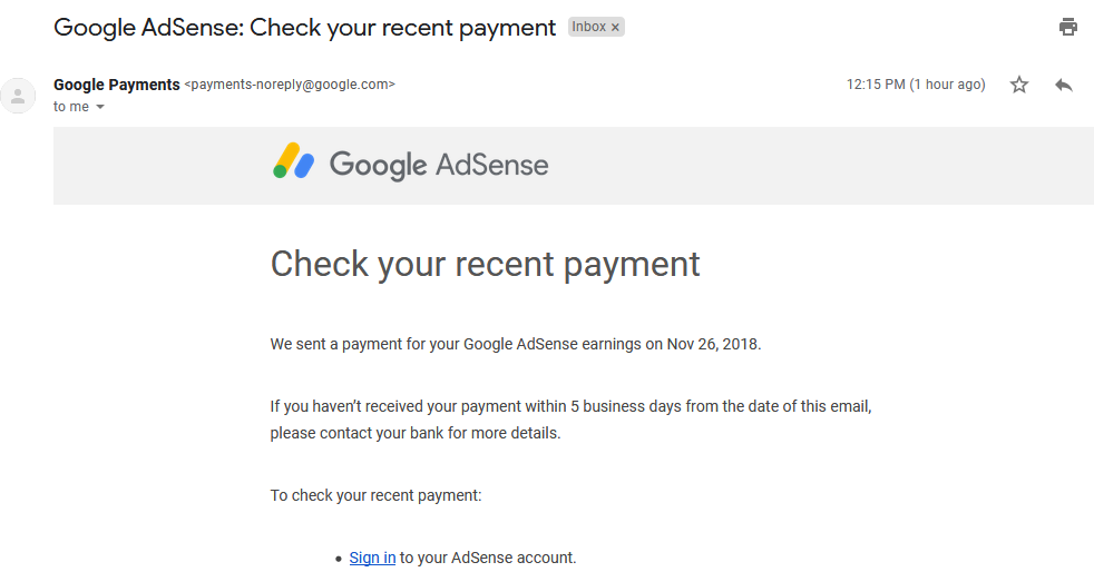 Google AdSense Check your recent payment