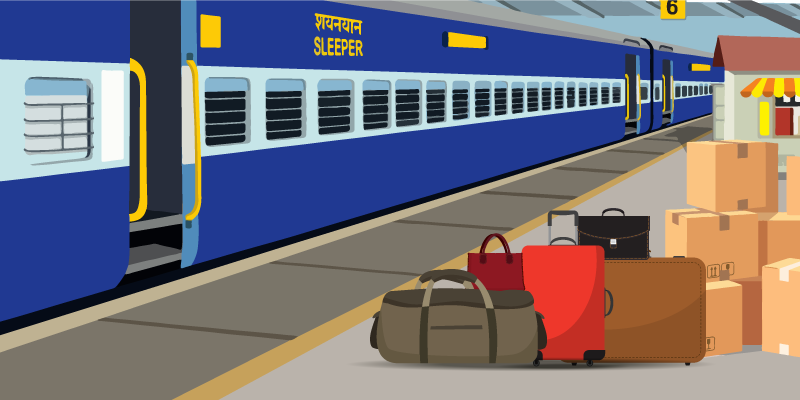 different red and blue Indian Railway Coach