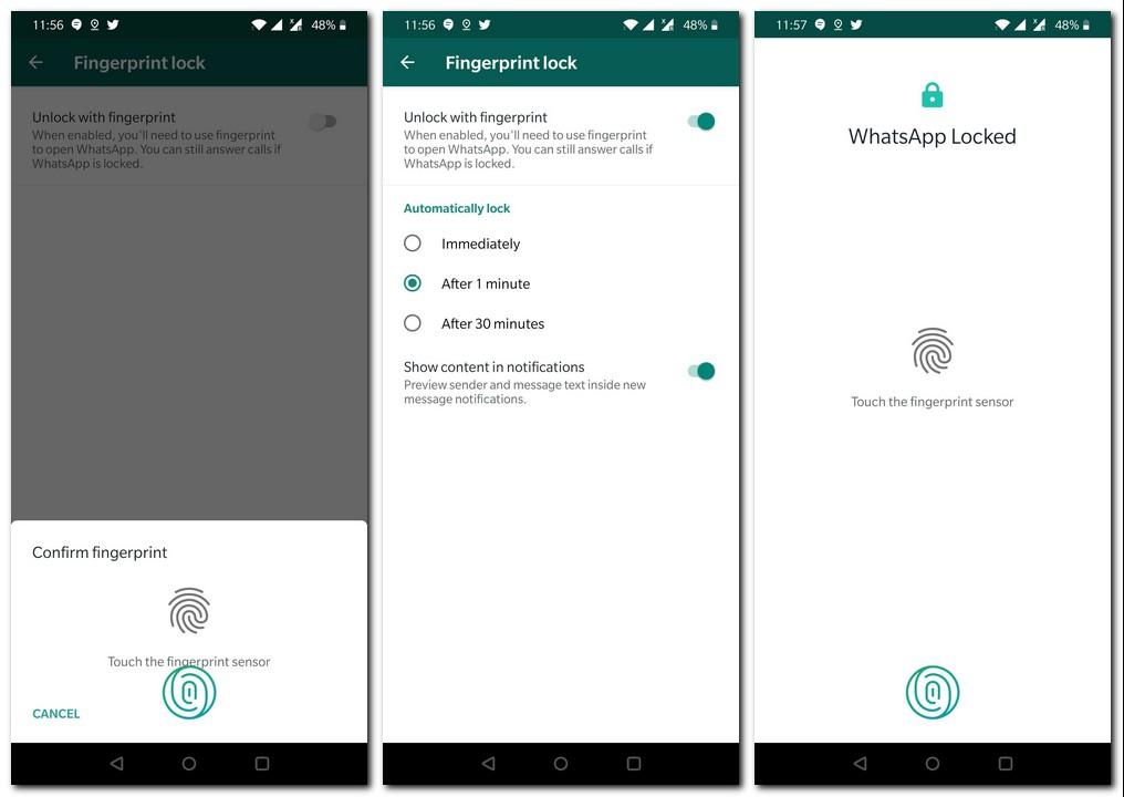 how to set fingerprint unlock for whatsapp hindi